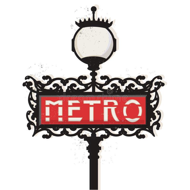 Paris tunnelbanatecken stock illustrationer