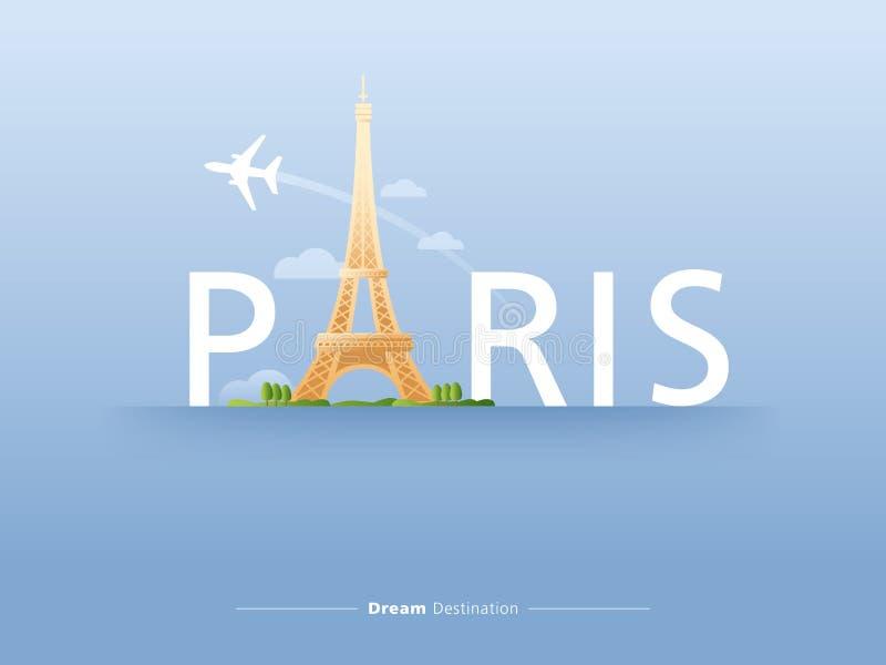 Paris typografi stock illustrationer