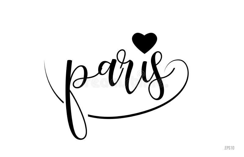 paris typografii tekst z miłości sercem ilustracja wektor