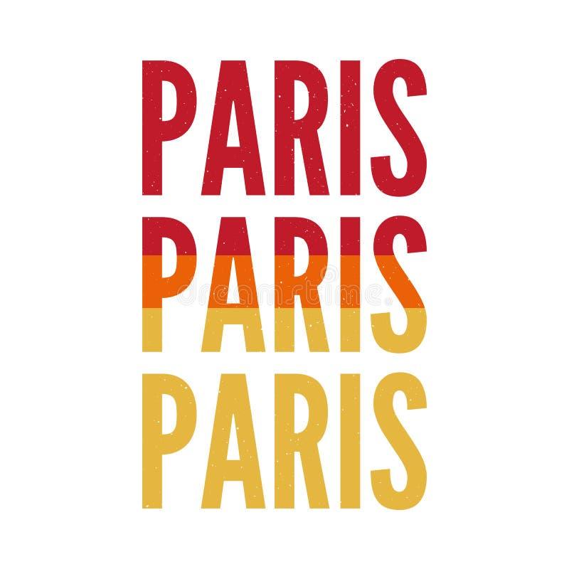 Paris typografislogan som drar den moderna modeslogan för T-tröja och grafiskt vektortryck för apparels stock illustrationer