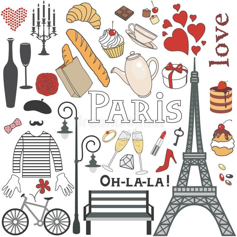 Paris uppsättning vektor illustrationer