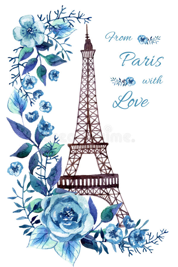 Paris vattenfärgillustration royaltyfri illustrationer
