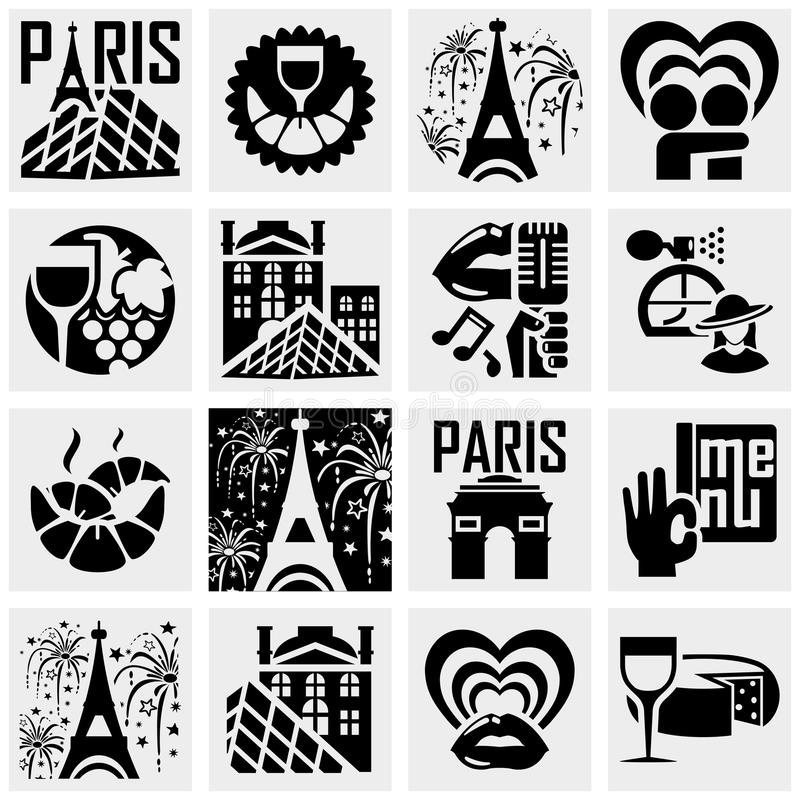 Paris vector icons set on gray. vector illustration