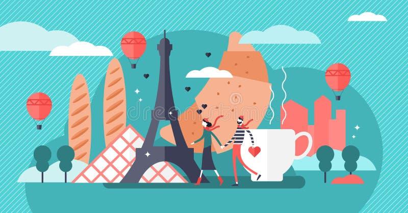 Paris vector illustration. Famous french city tourist symbols collection. stock illustration