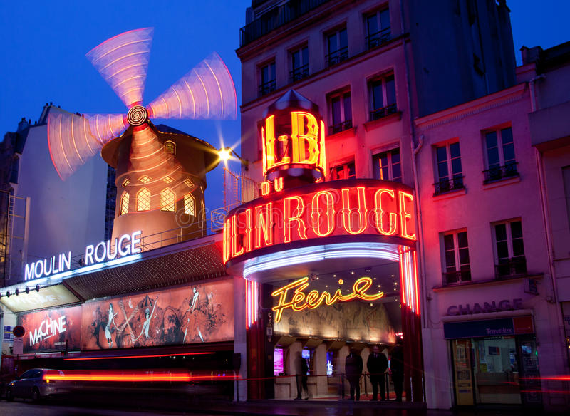 Paris, vermelho de Moulin foto de stock
