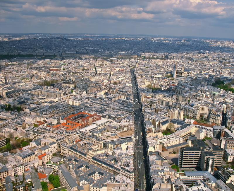 Paris view Montparnasse busy street. Paris view from Montparnasse tower, Eiffel tower royalty free stock photos