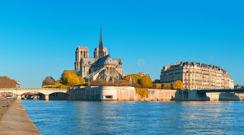 Paris, view over river Seine with Notre-Dame cathedral in Fall royalty free stock images
