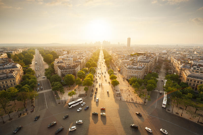 Paris view from the top of Arc de Triomphe stock image