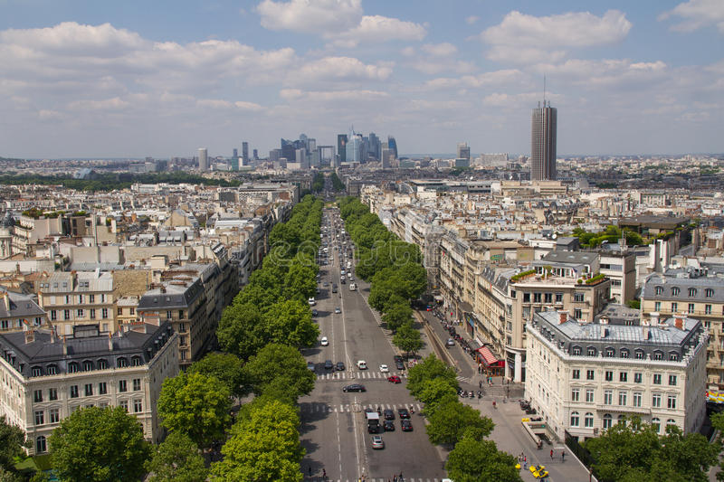 Paris view from the top of Arc de Triomphe stock photos