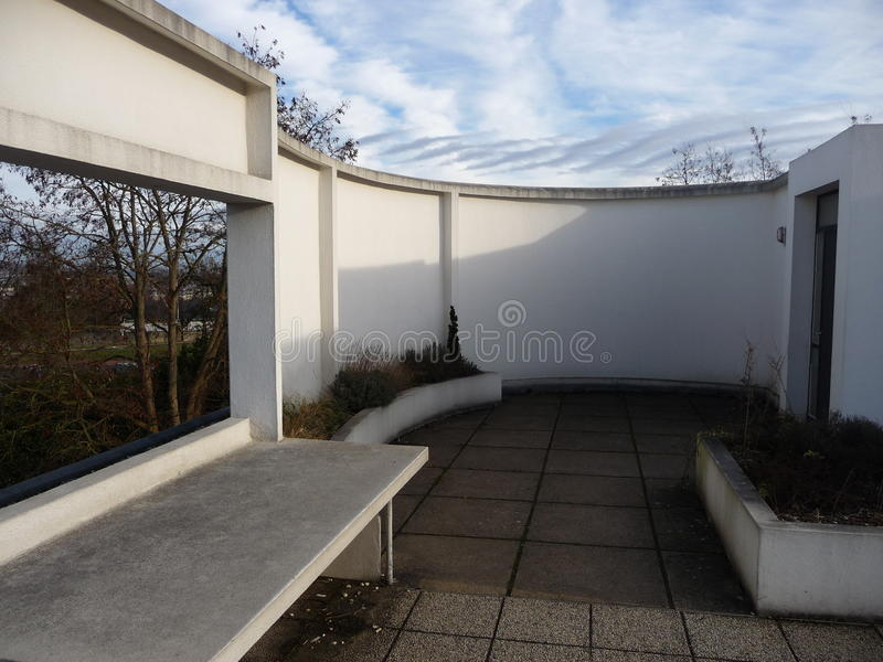 Paris - villa Savoye (en haut patio) photographie stock libre de droits