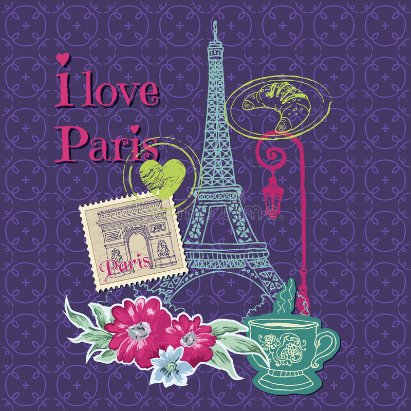 Paris Vintage Card royalty free illustration