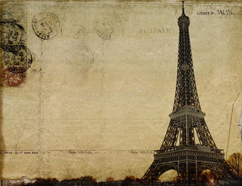 Paris vintage postcard vector illustration