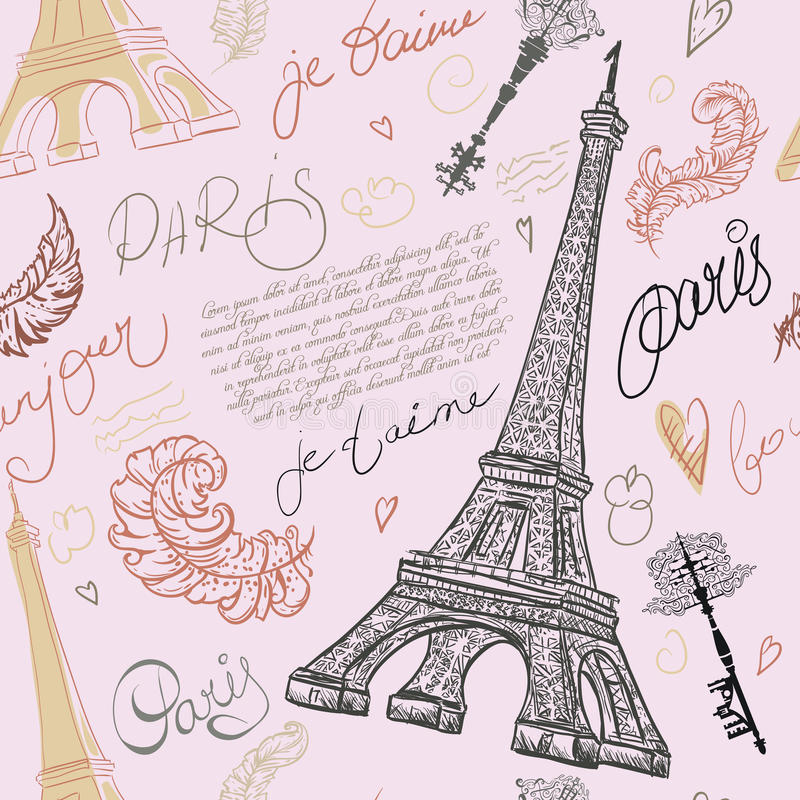 Paris. Vintage seamless pattern with Eiffel Tower, ancient keys, feathers and hand drawn lettering. stock illustration