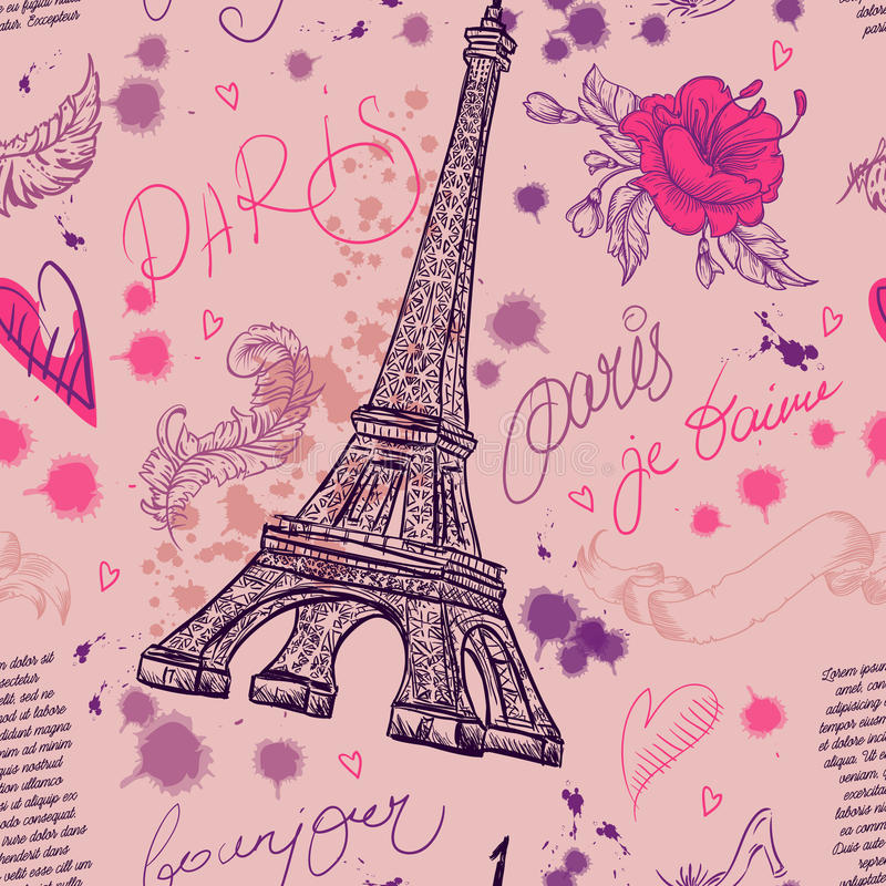 Paris. Vintage seamless pattern with Eiffel Tower, flowers, feathers and text. Retro hand drawn vector illustration