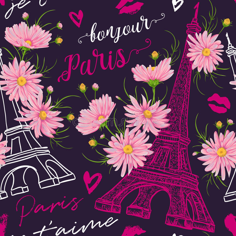 Paris. Vintage seamless pattern with Eiffel Tower, kisses, hearts and pink chamomile flowers in watercolor style. Retro hand drawn vector illustration stock illustration