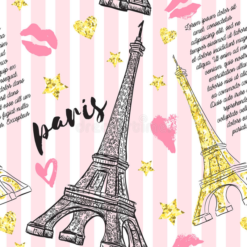 Paris. Vintage seamless pattern with Eiffel Tower, kisses, hearts and stars with golden glitter foil texture on striped background stock illustration