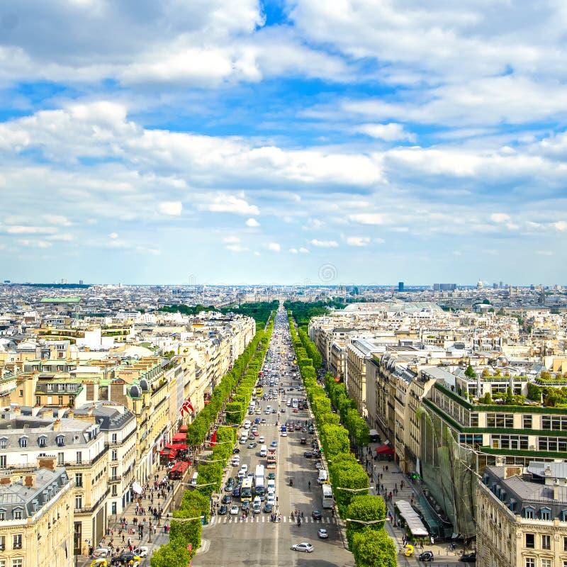 Paris, vue aérienne panoramique de Champs-Elysees. France image libre de droits