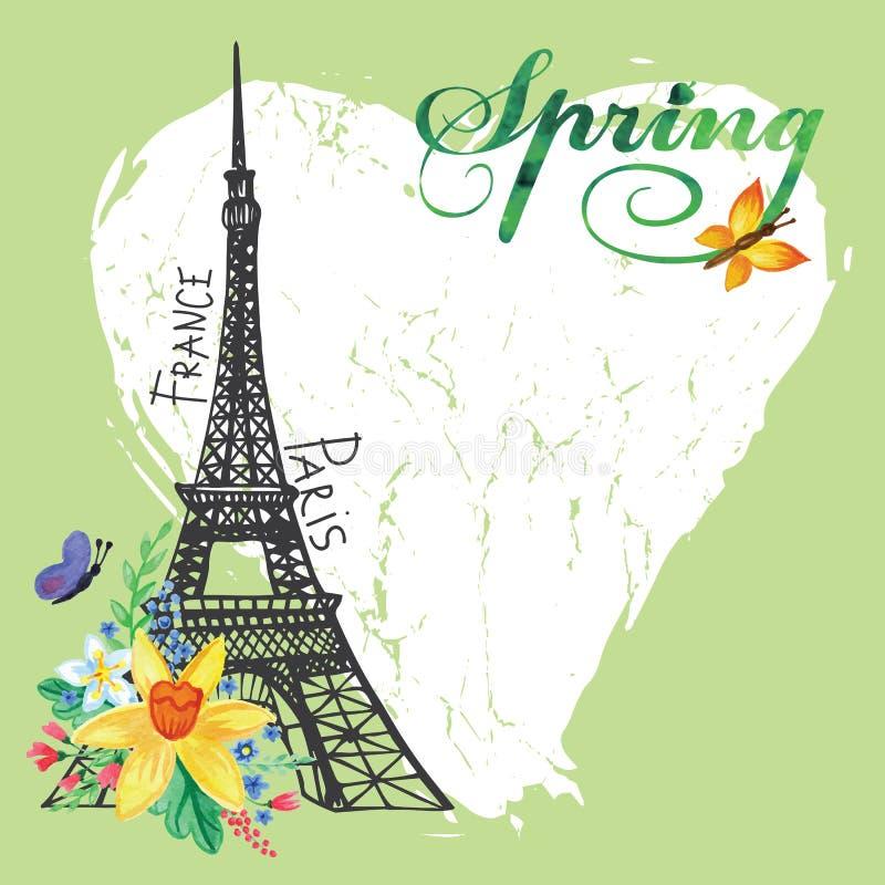 Paris-Weinlesefrühlingskarte Eiffelturm, Aquarell lizenzfreie abbildung