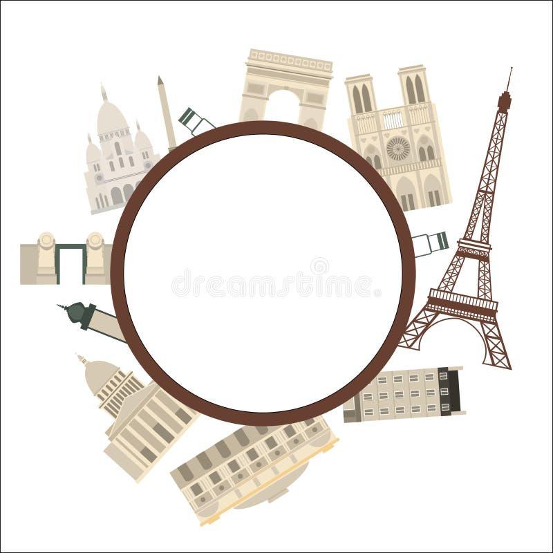 paris Wektor rama z Paryskimi punktami zwrotnymi ilustracji