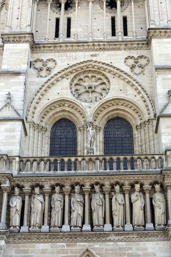 Paris - West facade of Notre Dame Cathedral stock images