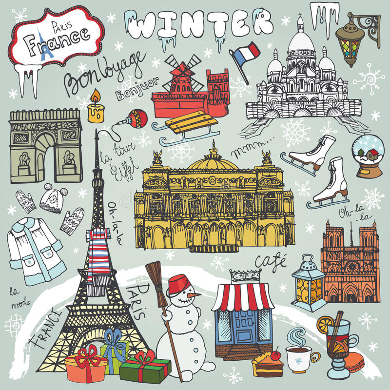 Download Paris WinterDoodle LandmarkssymbolsColored Map Stock Vector