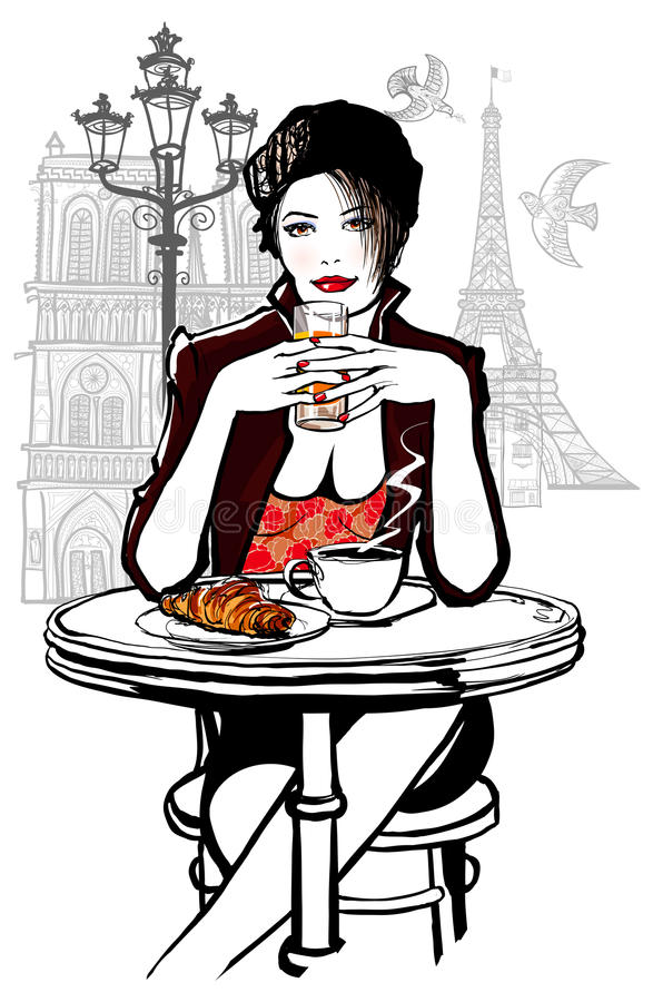 Paris - woman on holiday having breakfast vector illustration