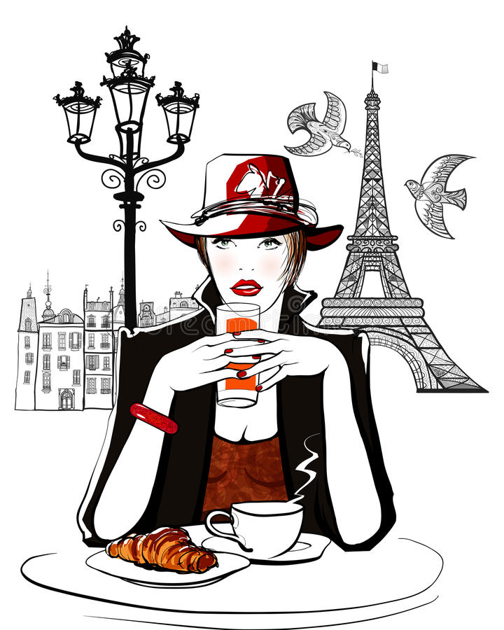 Paris - woman on holiday having breakfast stock illustration