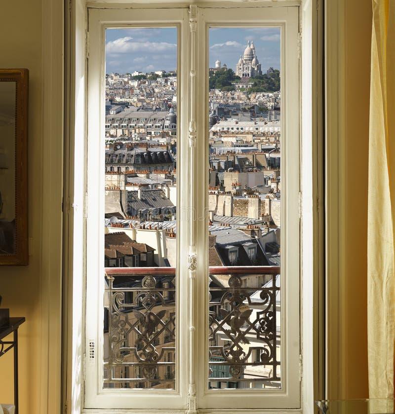 paris zadasza okno zdjęcie stock