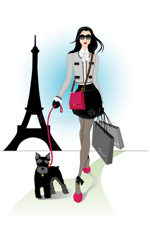 paris zakupy ilustracja wektor