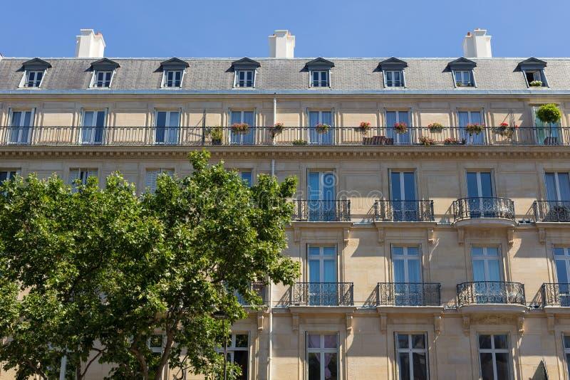 Pariser Gebäudefassade, Frankreich lizenzfreies stockbild