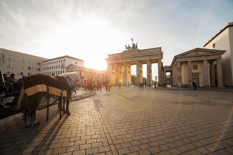 Pariser platz in berlin. With brandenburger tor and carriage royalty free stock photography