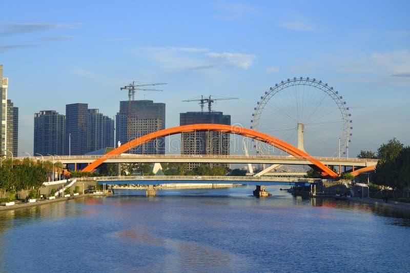 Pariserhjul för Tianjin stadsLiggande-Tianjin öga arkivfoton