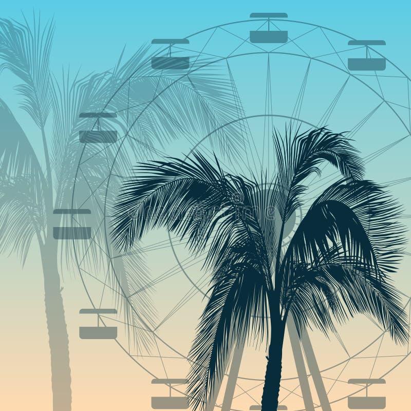 Pariserhjul- och palmträdkonturbakgrund vektor illustrationer