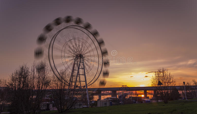 Pariserhjul på solnedgången royaltyfri bild
