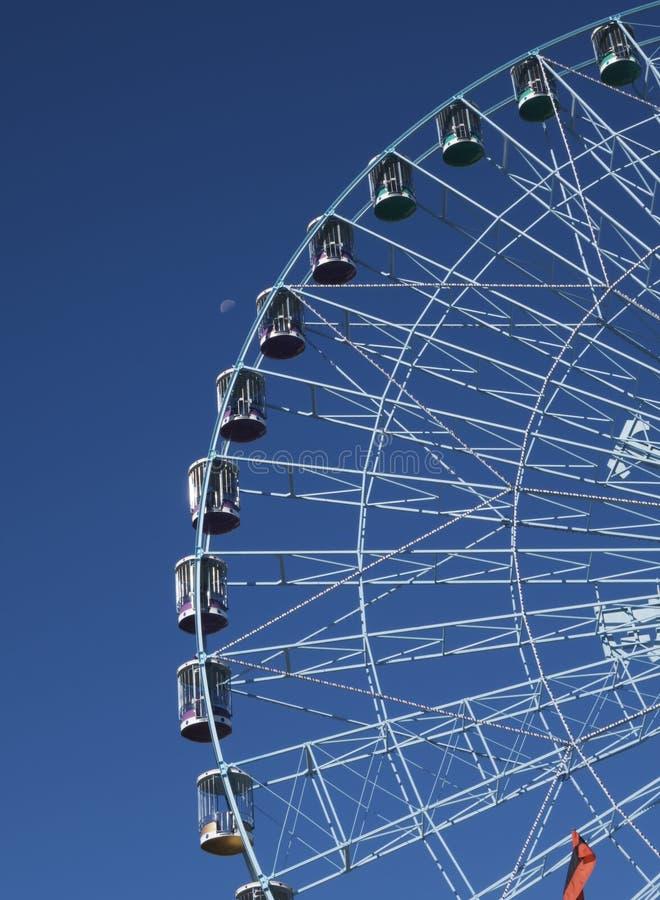 Pariserhjul Texas Star och inställningsmåne royaltyfri fotografi