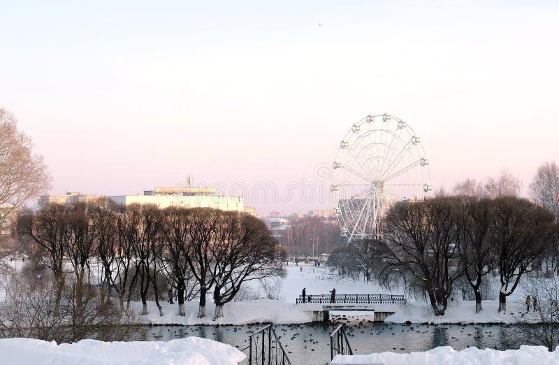Pariserhjulen i vinter parkerar med dammet på stadsbakgrund Rosa solnedgånghimmel fotografering för bildbyråer