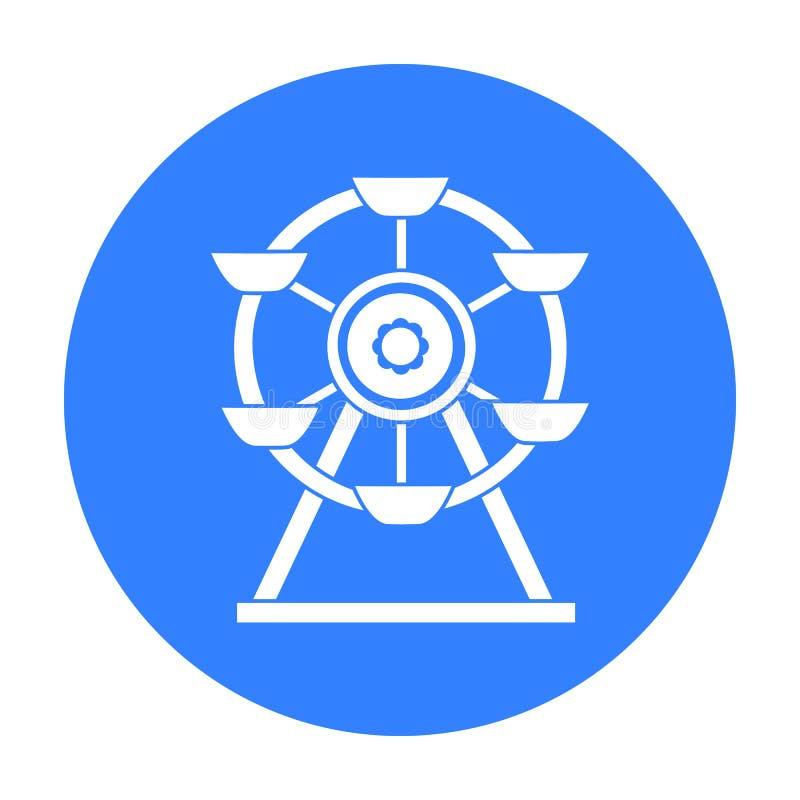 Pariserhjulsymbol i svart stil som isoleras på vit bakgrund För symbolmateriel för lek trädgårds- illustration för vektor royaltyfri illustrationer