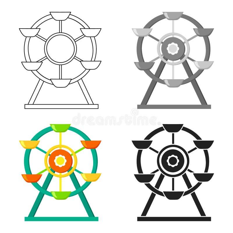 Pariserhjulsymbol i tecknad filmstil som isoleras på vit bakgrund För symbolmateriel för lek trädgårds- illustration för vektor royaltyfri illustrationer