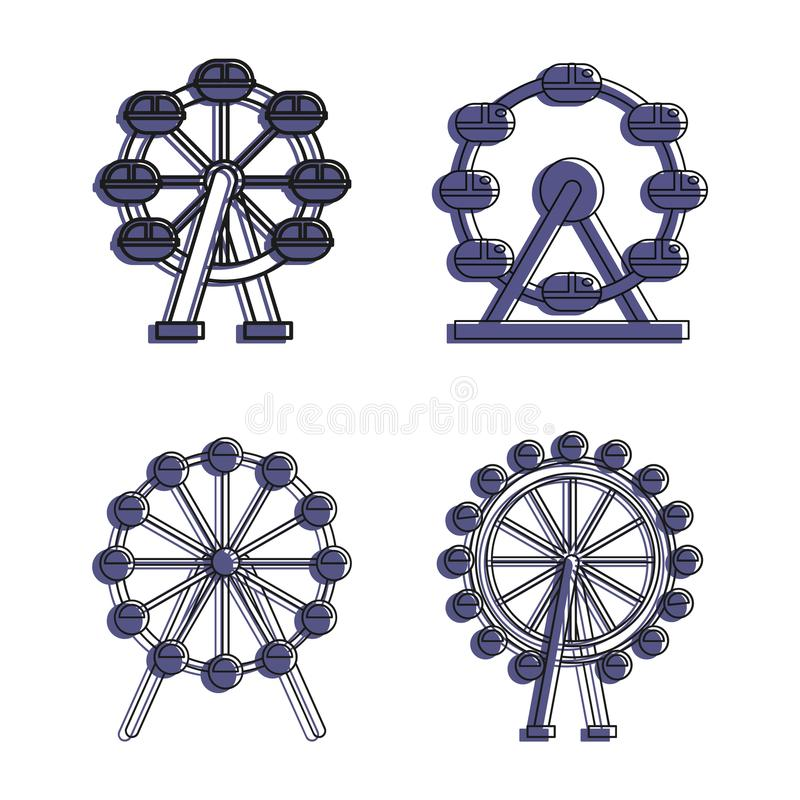 Pariserhjulsymbolsuppsättning, färgöversiktsstil vektor illustrationer