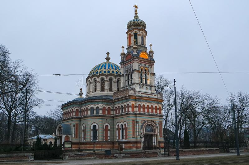 Parish of the Cathedral of St. Alexander Nevskiy in Lodz stock photo