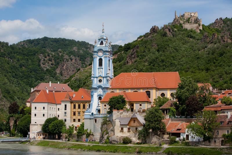 The Parish Church. A photo of the Parish Church in Durnstein, Austria. The photo was taken from a ship on the Danube River. The area is known as the Wachau royalty free stock photography