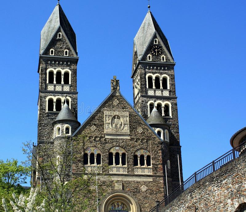 Parish Church. From 1910 in Clervaux. Luxembourg stock image