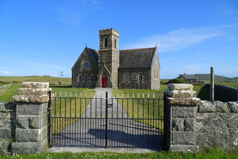 Parish church on Scottish island. The Parish Church at Heylipol on the island of Tiree in the Inner Hebrides of Scotland royalty free stock photos