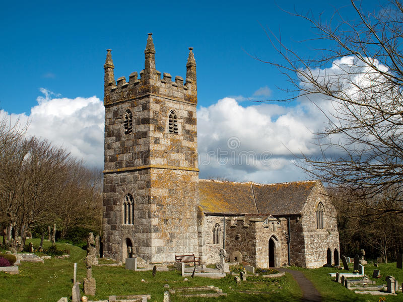 St Wynwallow's Church Cornwall stock photography