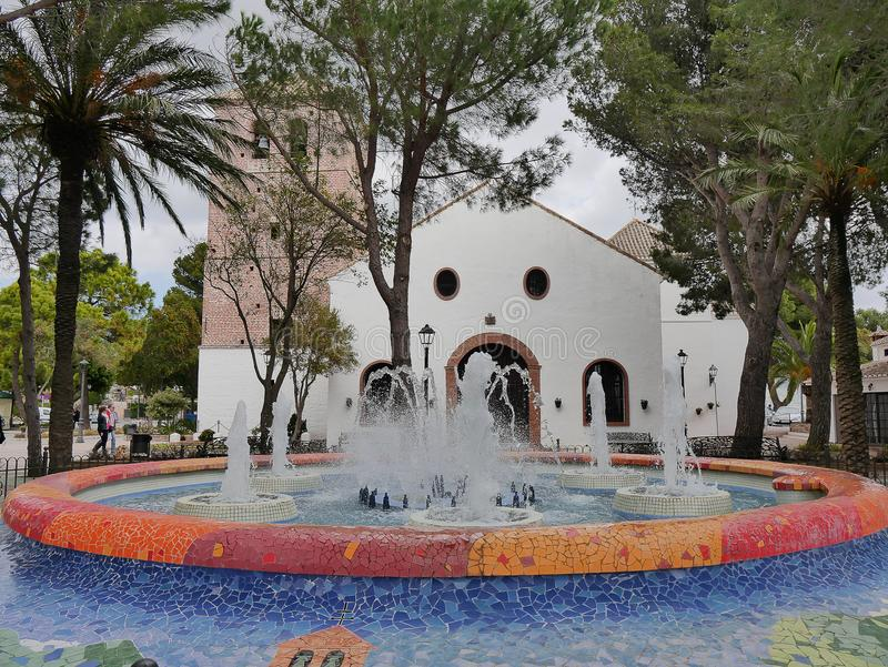 Parish Church in Mijas one of the most beautiful `white` villages of the Southern Spain area called Andalucia. It is in the mountains above the coast this is stock photos