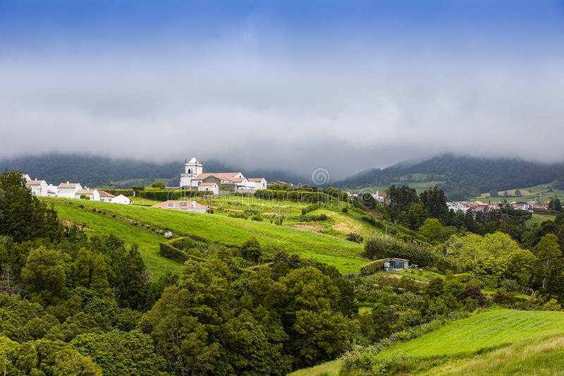 Parish Church in Nossa Senhora dos Remedios village, Sao Miguel island, Azores. Portugal stock photography