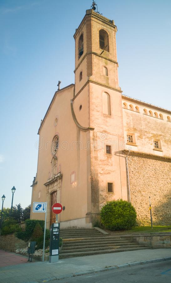 Parish church Saint Andrews tower at Tona city stock photo