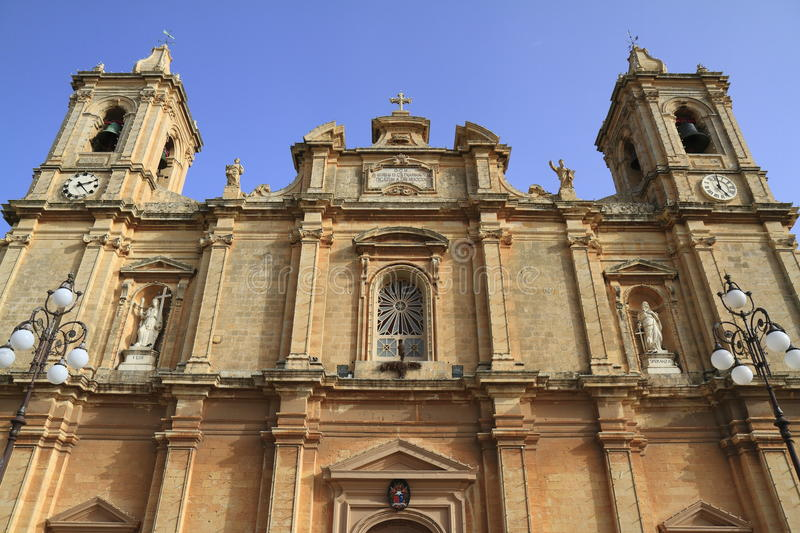 The parish church of Saint Catherine of Alexandria. Located in the village of Zejtun in Malta royalty free stock image