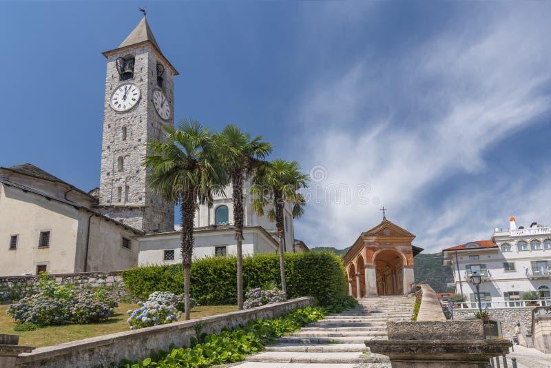 The parish church of Santi Gervasio and Protasio stands in the 16th century on Piazza della Chiesa in the historic centre of. Baveno, Italy stock photos