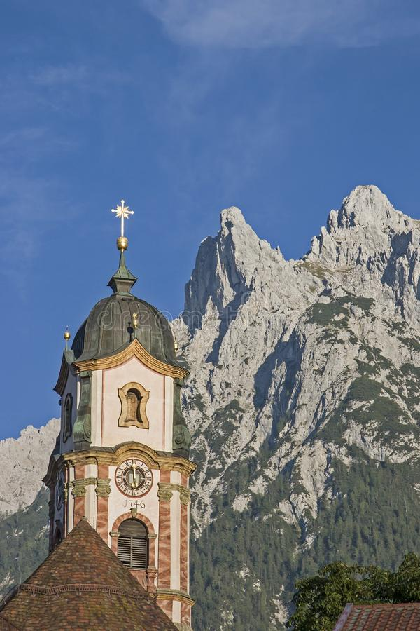 Parish Church of St. Peter and Paul in Mittenwald royalty free stock images